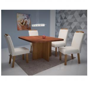 Mesa de Jantar 4 cadeiras Turim 100% MDF - Bom Pastor