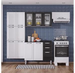 Cozinha De Aço Itatiaia Luce 10 Portas com Balcão 3 Portas e 2 Gavetas - Branco/Preto