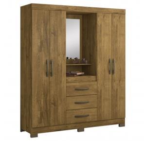 Guarda-roupa Capelinha com Espelho 4 Portas 3 Gavetas NT 5015 - Notável