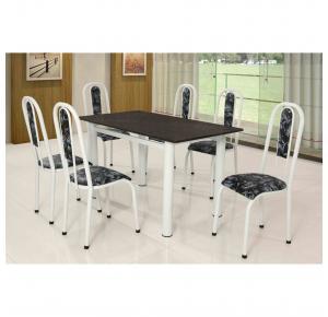 Conjunto de Mesa 6 Cadeiras Branca Tampo Ardósia Fernanda - Paonanda