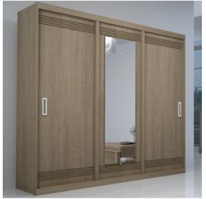 Guarda-roupa Casal com Espelho 3 Portas de Correr 100% MDF Turim Titanium - Bom Pastor