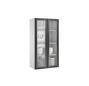 Armário de Cozinha Itatiaia Exclusive 2 Portas com Vidro G65 - Preto