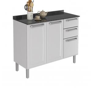 Balcão de Cozinha Itatiaia Luce 2 Portas 3 Gavetas Branco IG3G2-105