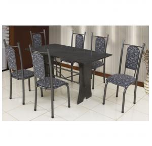 Conjunto de Mesa 6 Cadeiras Prata Tampo Ardósia Isabela - Paonanda