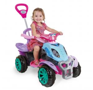 Carrinho de Passeio Quadriciclo Infantil com Pedal e Empurrador Ice Frost - Maral
