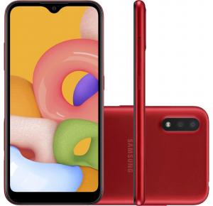 """Smartphone Samsung Galaxy A01 32GB 4G Android 10.0 Tela 5.7"""" Octa-Core Câmera 13MP - A015 Vermelho"""