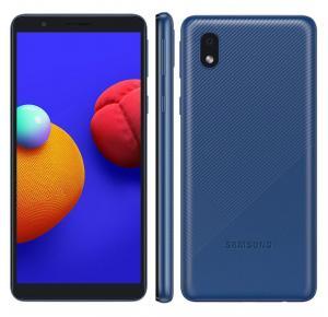 """Smartphone Samsung Galaxy A01 A013M Core Azul 32GB, Tela Infinita de 5.3"""" Câmera Traseira 8MP Android GO 10.0, Dual Chip e Processador Quad-Core"""
