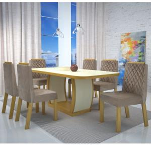 Mesa de Jantar 6 cadeiras Vigor Luxo 100% MDF - Bom Pastor