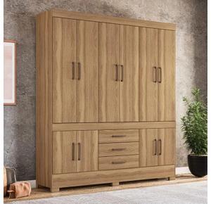 Guarda-roupa Casal 10 Portas 3 Gavetas New Murano Amêndola - Demóbile
