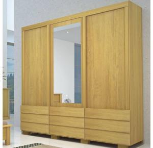 Guarda-roupa Casal com Espelho 3 Portas de Correr 9 Gavetas Itália - Bom Pastor